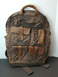 ALTOSY Canvas Backpack Leather Laptop Bags Men Women Travel Rucksack NWT $39.99