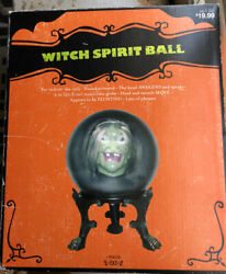 """Animated Gemmy Witch Talking Head And Mouth Motion Activated 9"""" Spirit Ball 2007"""