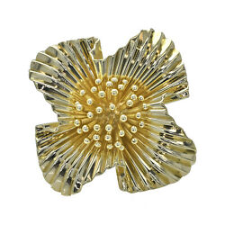 And Co. Brooch 14k Yellow Gold Polished Floral Pattern Pin Estate Jewelry