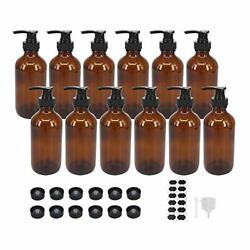 Bpfy 12 Pack 8 Oz Amber Glass Bottles With Pumps For Essential Oils Cleaning ...