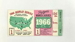 1966 World Series Ticket Dodgers Orioles Brooks And Frank Robinson Hr Drysdale Gm1