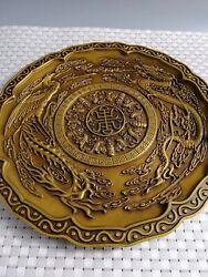 Chinese Brass Fortune Lucky Dragon Phoenix Plate Home Decoration