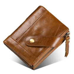 RFID Clutch Bag Mens Leather Wallet Card Holder Coin Wallet With Double Zipper B $22.93