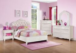 4 Pc. Pretty White And Pink Leatherette Full Bed N/s Dresser Mirror Furniture Set