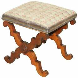 Lovely Victorian Walnut William And Mary Style Stool, Lovely X Frame Carved Base