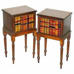 Lovely Pair Of Fully Restored Faux Book Front Side End Lamp Wine Table Cupboards