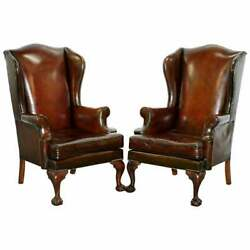 1930and039s Pair Of Fully Restored Claw And Ball Wingback Cigar Brown Leather Armchairs