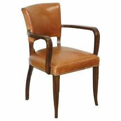 George Smith Brown Leather And Mahogany Desk Office Bridge Games Armchair Or Chair