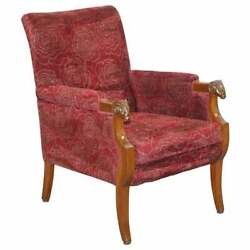 1 Of 2 Vintage Carved Rams Head Armchair Vintage Piece Red Floral Upholstery
