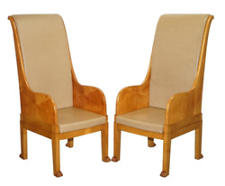 Pair Of Huge Vintage Leather Solid Walnut Throne Armchairs Lion Hairy Paw Feet
