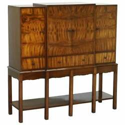 Fine Vintage Waring And Gillows Ltd Fully Stamped Flamed Mahogany Drinks Cabinet