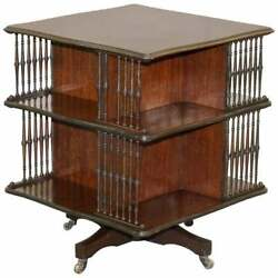Victorian Antique Howard And Sonand039s Revolving Library Bookcase Side End Wine Table