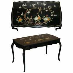 Stunning Black Lacquered Polychrome Painted Writing Table Desk Birds Flowers