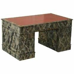 Marbled Hand Painted Marble Painted Twin Pedestal Partner Desk Oxblood Leather