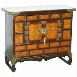 Antique Circa 1900 Chinese Export Burr Elm And Brass Engraved Sideboard Butterfly