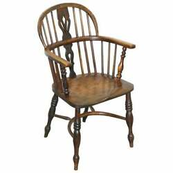 English Classic Antique Victorian 19th Century Elm And Ash Wood Windsor Armchair