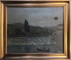 Harald Heiring 1906-1995 France River Landscape With Boat 74 X 87 Oil Painting