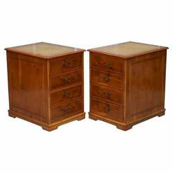 Stunning Pair Of Burr Yew Wood Office Filing Cabinets With Green Leather Tops