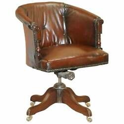Chesterfield Antique Cir 1880 Restored Brown Leather Barrel Back Captains Chair