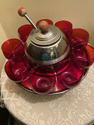Depression Glass Punch Bowl Toddy Set-rare Ruby And Metal. Circa 1930's.