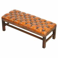 Fully Restored Vintage Chesterfield Brown Leather Hand Dyed Footstool Bench