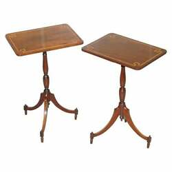 Pair Of Vintage Flamed Walnut And Inlaid Regency Style Tripod Side End Lamp Tables
