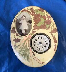 Vintage Gibson Photo Jewelry Clock With Young Girl Picture - Works Bakelite