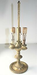 Antique Candelabra Table Lamp Electric, Metal, Needs Rewire Or For Parts Repair