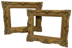 Pair Vintage French Louis Xv Rococo Carved Gilded Wood Frames For 16x12 Pictures