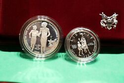 1995 Us Mint 1 Olympic Blind Runner/basketball Commemorative 2-coin Set - Proof