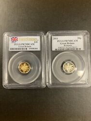 2011 Pcgs Pr70 Great Britain 2 Coins Set  1/10 Gold And 1/10 Silver