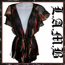 L.a.m.b. Womenand039s Small Sheer Black And Copper Metallic Tie Front Blouse Silk Top