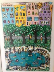 James Rizzi Lithograph Park Pond 3-d 1984 Pencil Signed Titled Numbered 41/150