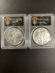 2019-wand2019 Pcgs Sp70 Burnished Andms70 Silver Eagles Fdoi-2 Coins Set