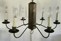 Vintage 6 Arm Brass Chandelier Colonial Early American Tavern Williamsburg Style