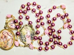 Vatican Victorian Style Violet Pearl Roses Mary Cameo Locket Rosary