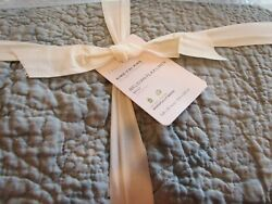 Pottery Barn Chambray Flax Belgian Linen Floral Stitch Quilt King 2 King Shams