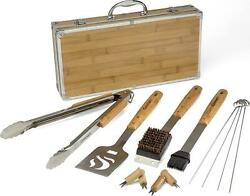 Grilling Tool Set Bbq Bamboo Tools Wooden Handle Outdoor Cooking Barbecue 13-pc