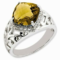 Whiskey Quartz And Diamond Ring In Sterling Silver Size 7