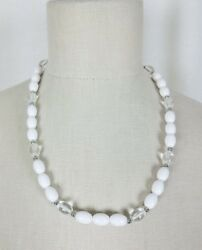 Vintage Trifari Lucite Beads Beaded Strand Necklace 31 Grams Silver White Clear