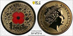 2015 Australia 1 One Dollar Wwi War Heroes Red Poppy Coin Pcgs Graded Ms68