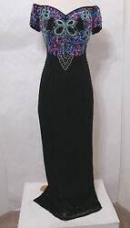 THE PAGEANT SHOP Gown 100% Silk Colorful Off Shoulder Heavy Jeweled Trophy 8 $199.99