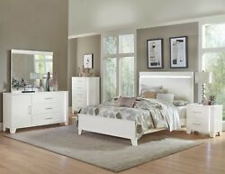 4 Pc Glossy White Faux Leather Led Lights Queen Bed Ns Dresser Bedroom Furniture
