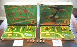 Two 2 Lee Toy Mechanical Playgrounds With Boxes And Six Babies, Vintage 1940's