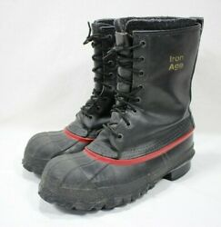 Iron Age Men's Insulated Steel Toe Winter Boots Leather Duck Rubber Black Size 8