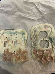 Ceramic Floral Double Wall Outlet And Double Light Switch Covers