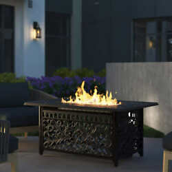 Fire Pit Table Propane Gas Rectangular Clear Fire Glass Cover 35 X 49