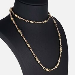 9ct Two-tone Gold Fancy Link Long Chain Necklace 1996