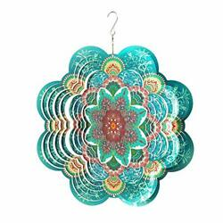 Stainless Steel Wind Spinner 3d Crafts Ornaments 12 Multi Color Mandala Flower
