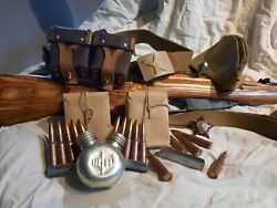 Russian Soviet Mosin Nagant Stripper Clips, Ammo Pouch And Oiler.
